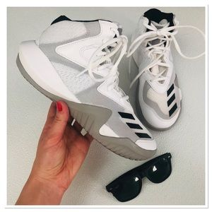 Adidas white and black chunky platform sneakers